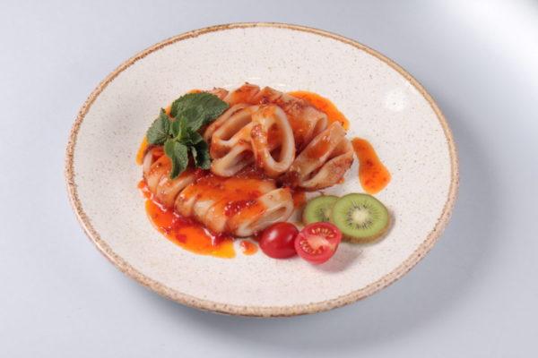 кальмары жареные в китайском соусе из ресторана